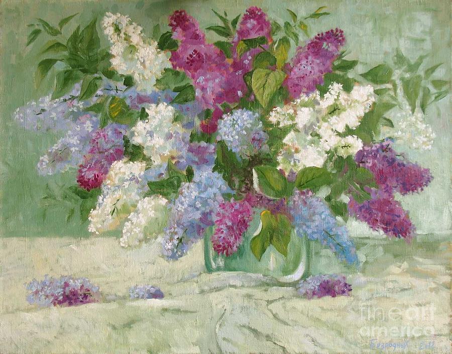 Still Life Painting - Lilac by Alexander Bezrodnykh
