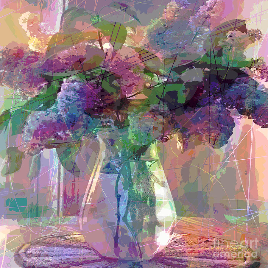 Still Life Painting - Lilac Cuttings Glass Vase by David Lloyd Glover
