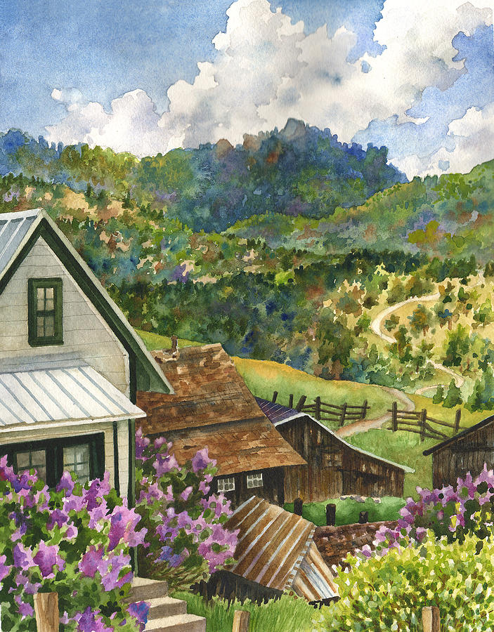 Landscape Painting Painting - Lilacs At Walker Ranch by Anne Gifford