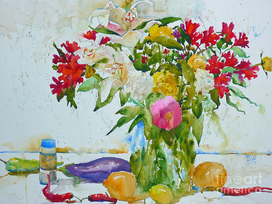 Watercolor Painting - Lilies And Red Peppers by Andre MEHU