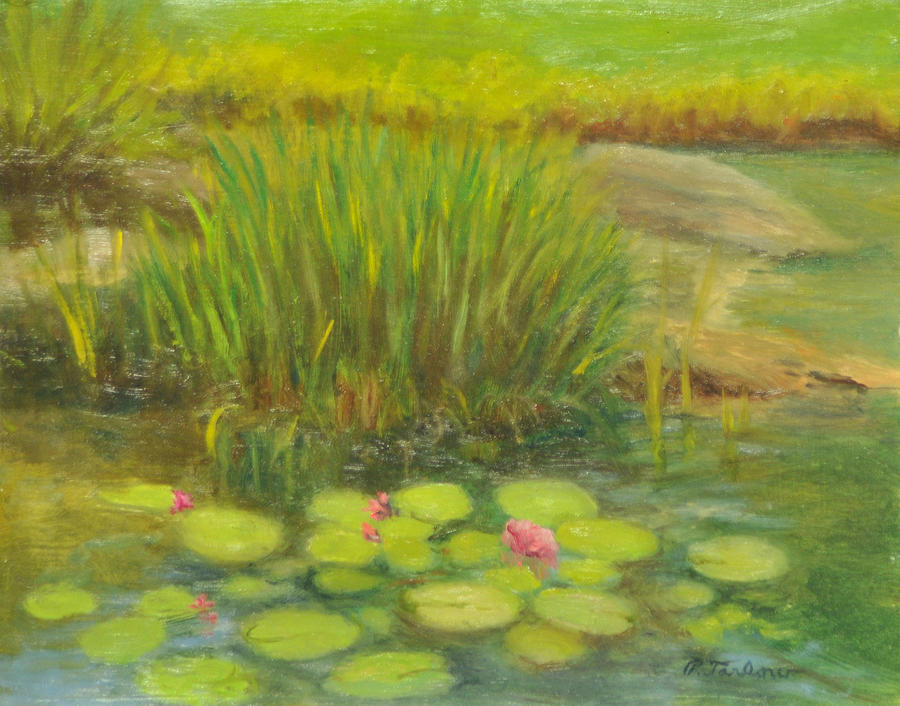 Landscape Painting - Lilies On The Pond by Phyllis Tarlow
