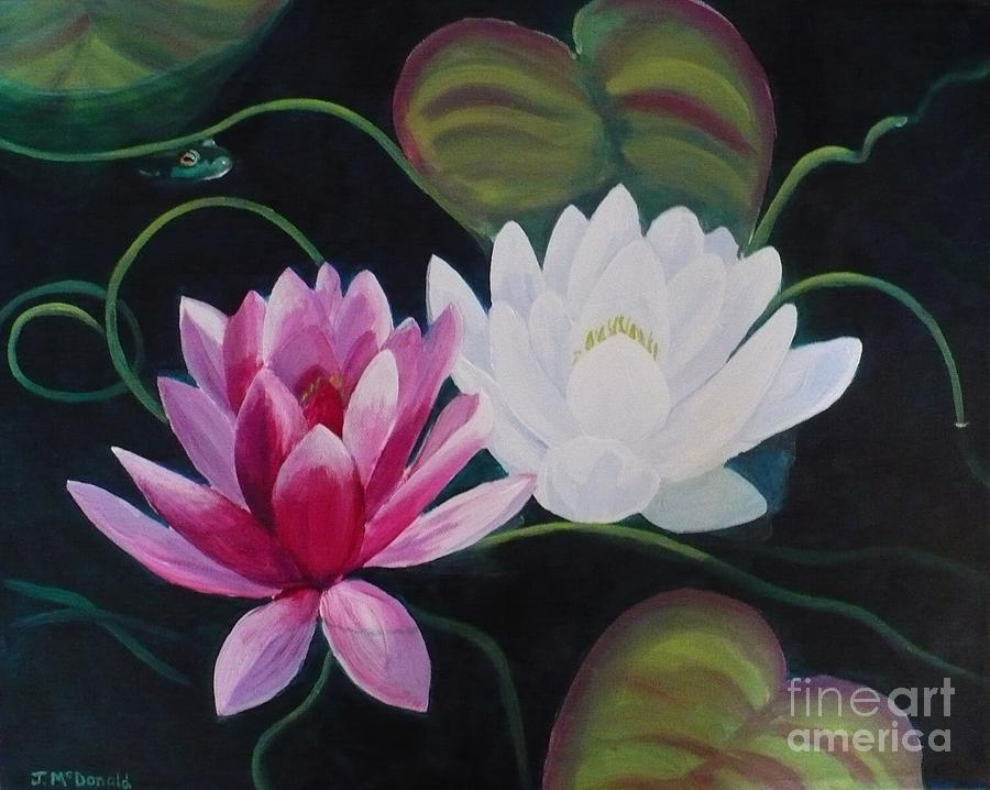 Sold Painting - Lillies And Frog by Janet McDonald