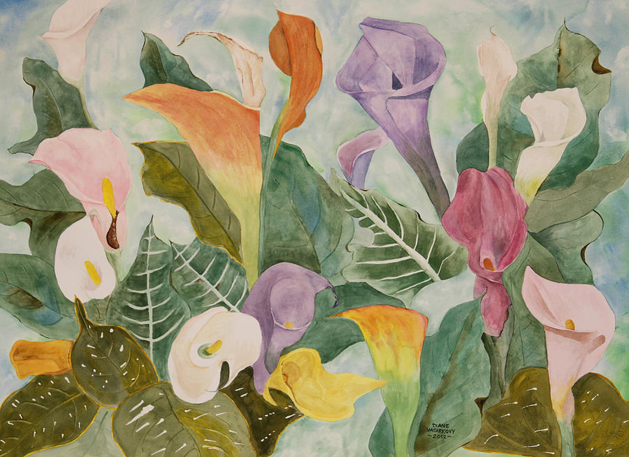 Lillies Painting - Lillies For Lilly by Diane Vasarkovy