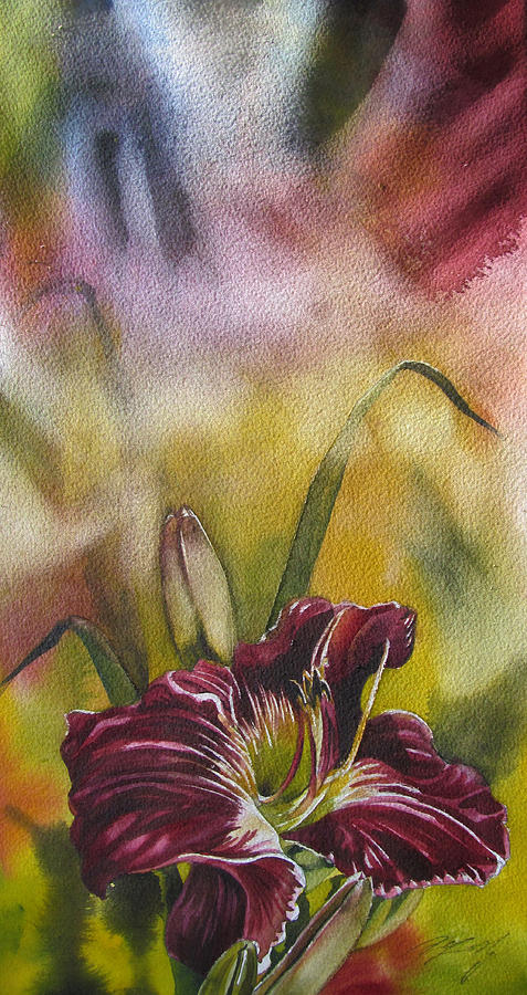 Watercolor Painting - Lily In Red by Alfred Ng