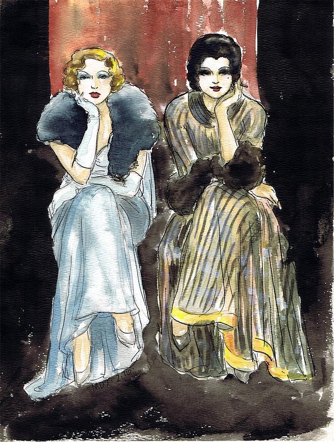 Nostalgia Drawing - Lilyan And Kay 2 by Mel Thompson