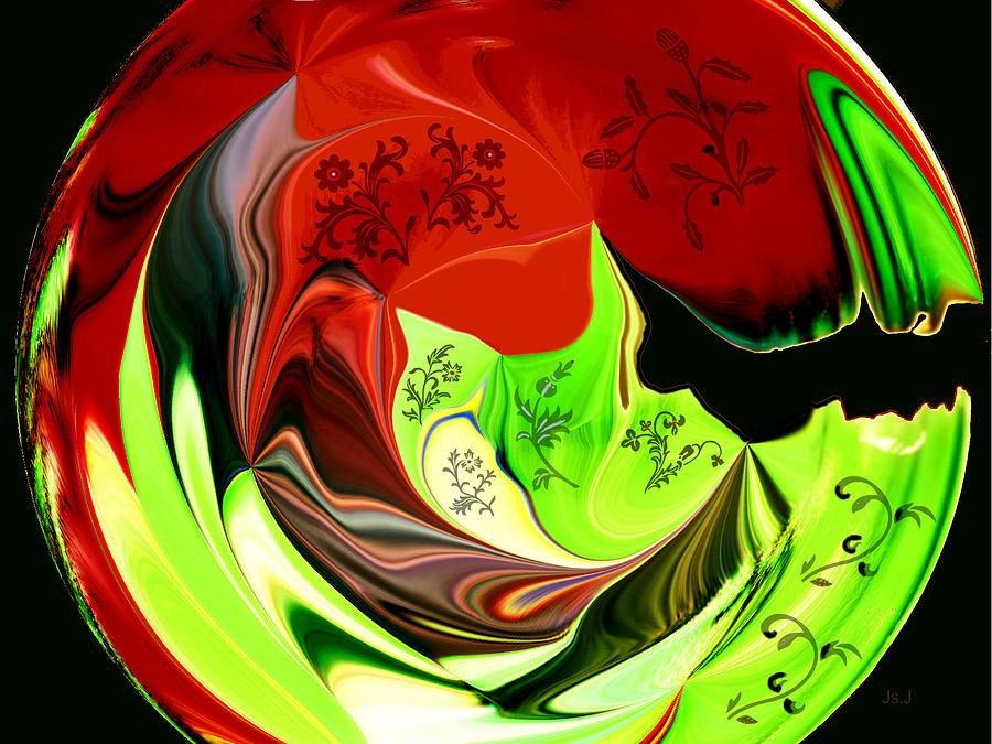 Mixed Media Digital Art - Lime And Leaves by Jan Steadman-Jackson