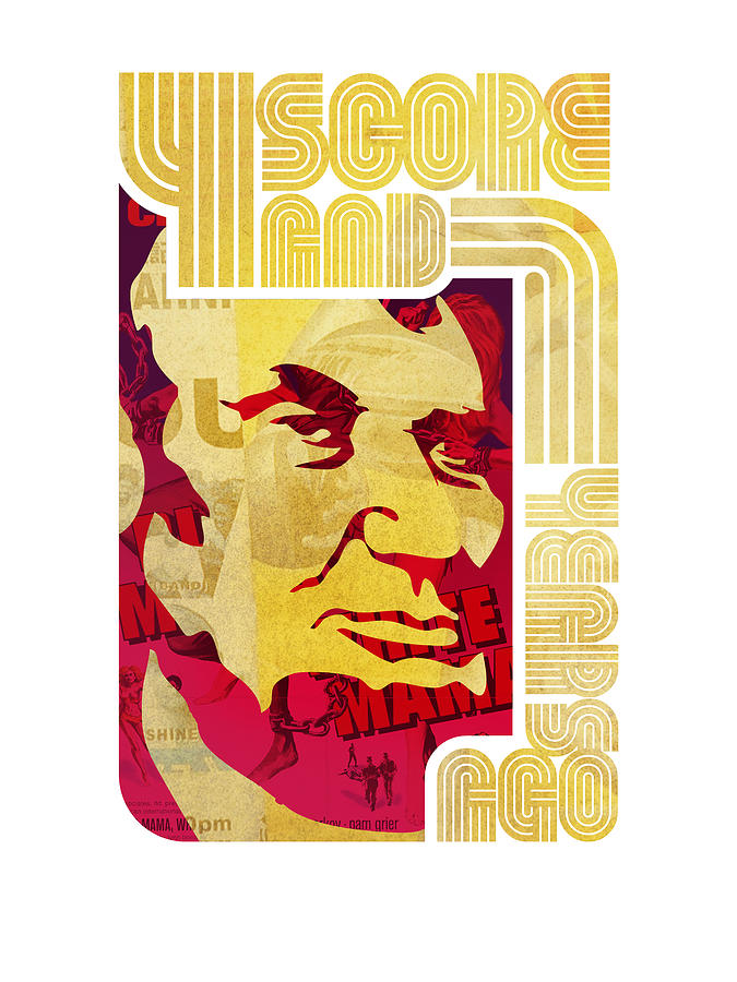 Typography Drawing - Lincoln 4 Score On White by Jeff Steed