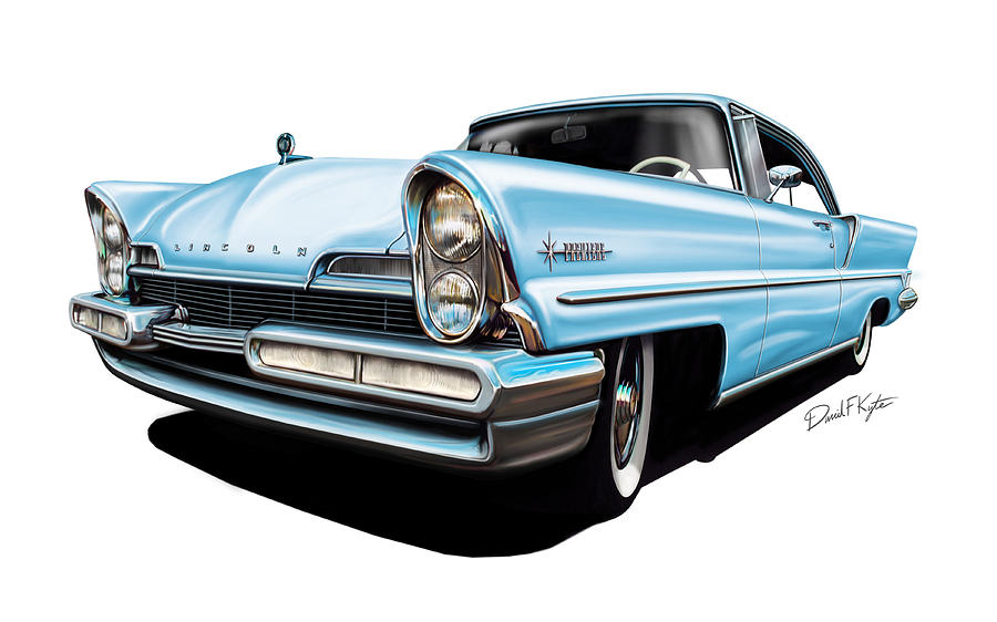 Pink Painting - Lincoln Premier In Baby Blue by David Kyte