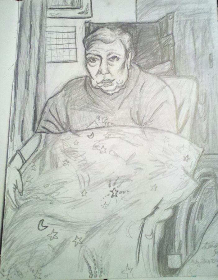 Elderly Drawing - Linda In Her Room by Hannah Curran