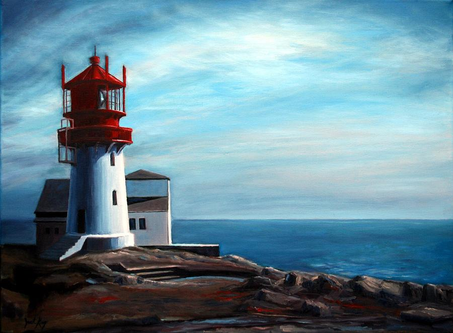 Lighthouse Painting - Lindesnes Lighthouse by Janet King