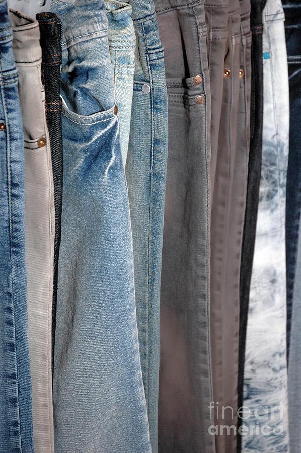 Blue Photograph - Line Of Jeans by Antoni Halim