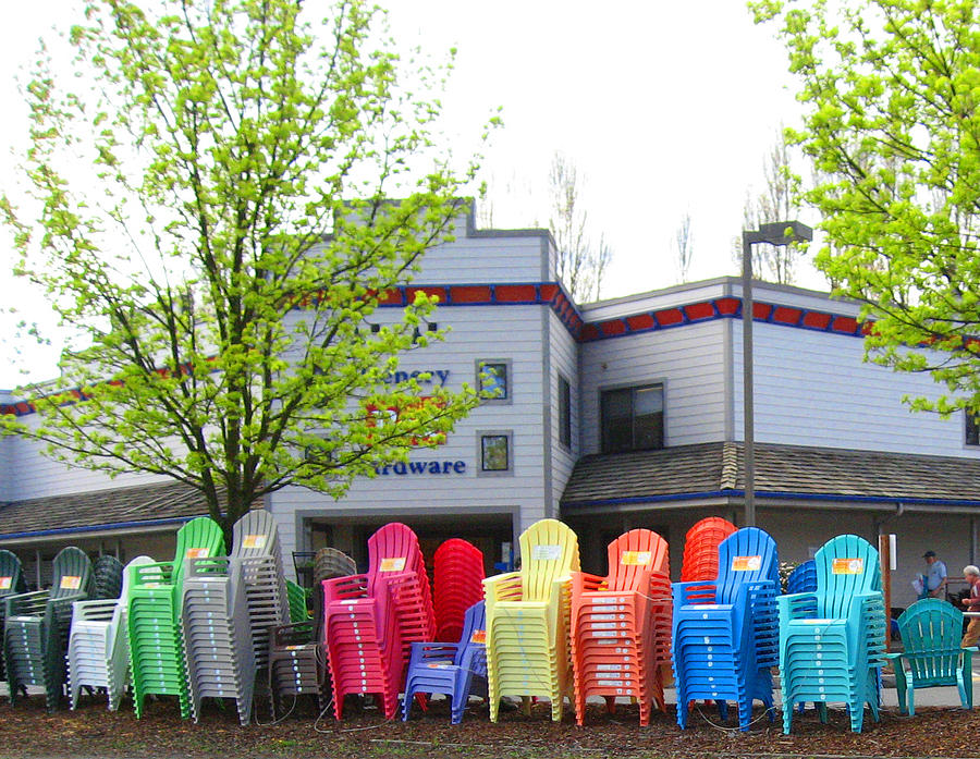 Trees Photograph - Line Of Rainbow Chairs by Kym Backland