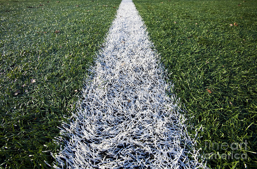 Athletics Photograph - Line On Sports Field by Paul Edmondson
