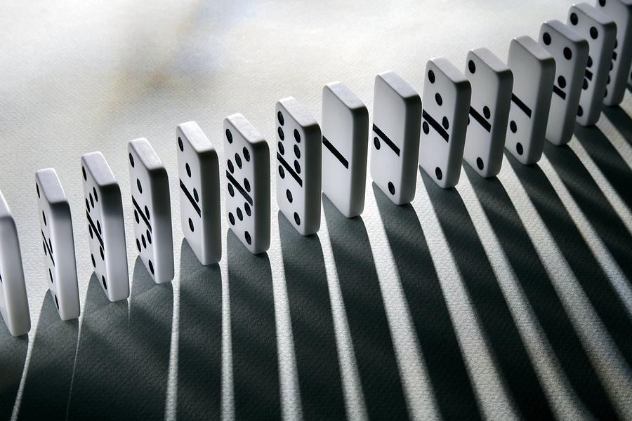 Cause And Effect Photograph - Lined Up Dominoes by Victor De Schwanberg