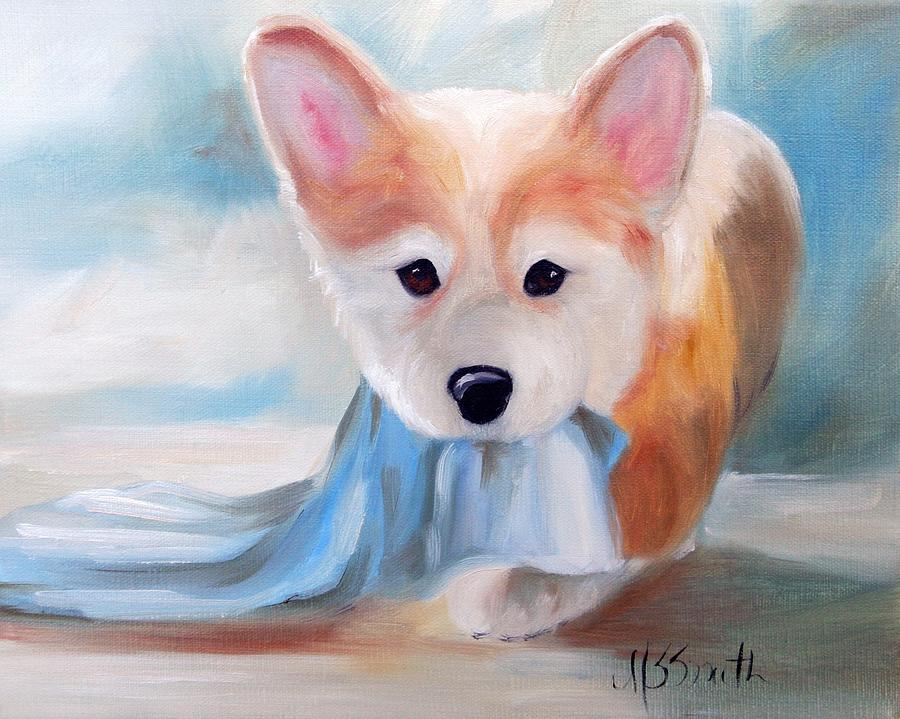 Corgi Painting - Linus And His Blanket by Mary Sparrow