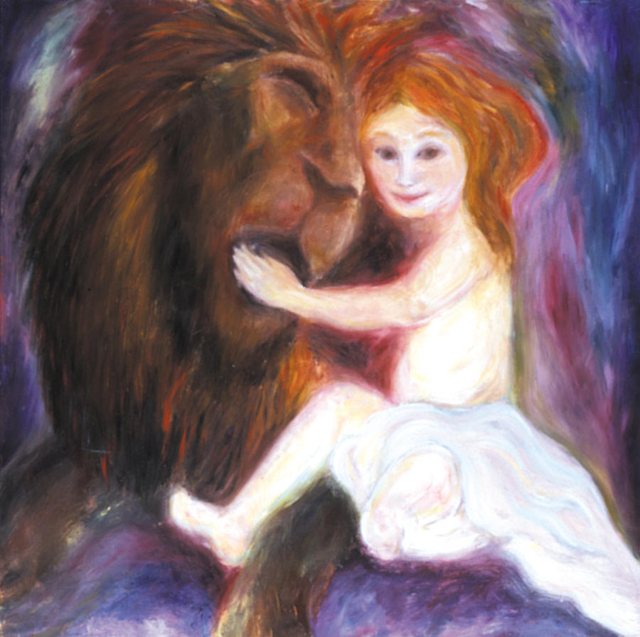 Lion And The Lamb Painting by Shoshanna Lightsmith for Lion And Lamb Painting  75sfw