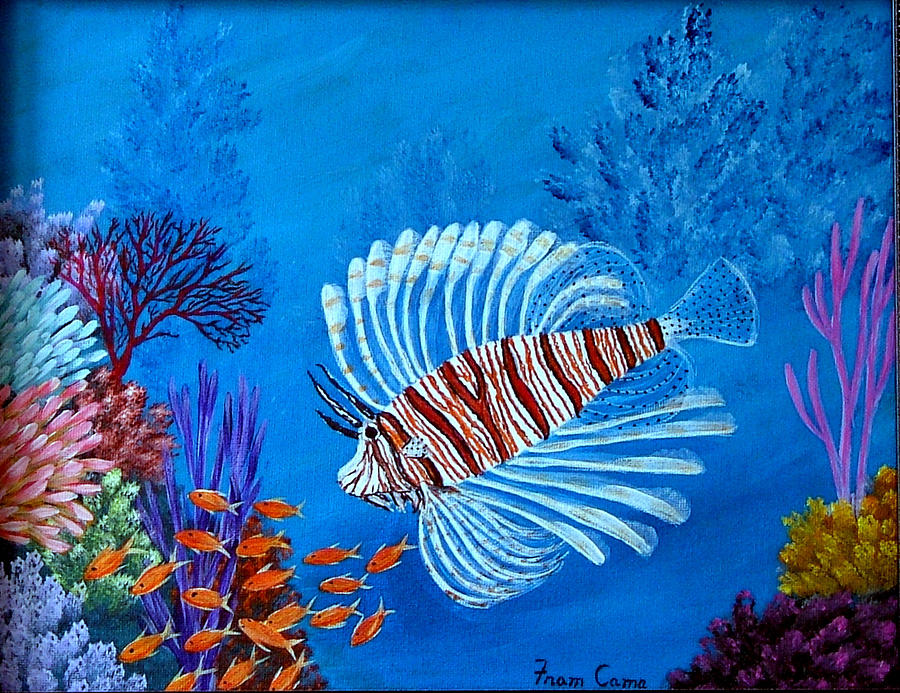 Lion Fish Painting by Fram Cama