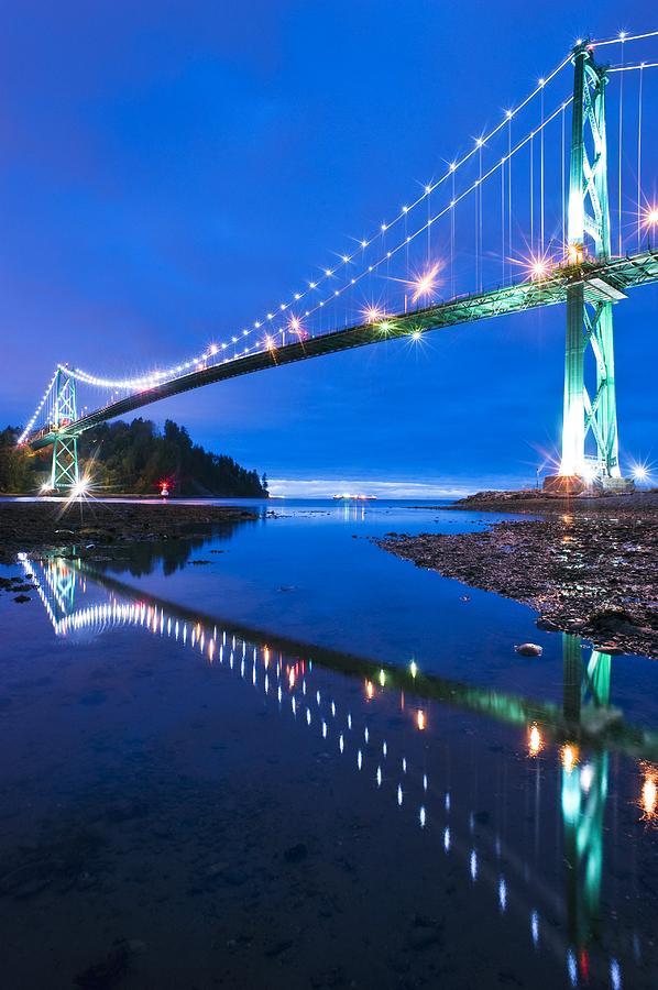 Lions Gate Bridge Photograph - Lions Gate Bridge, Vancouver, Canada by David Nunuk