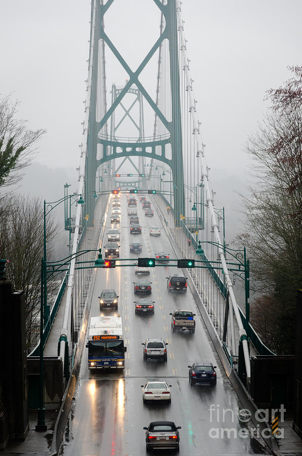Lions Gate Photograph - Lions Mist Lions Gate Bridge From Stanley Park Vancouver Bc by Andy Smy