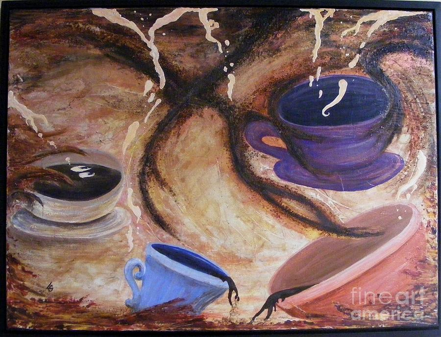 Coffee Painting - Liquid Daydreams by Lisa Golem