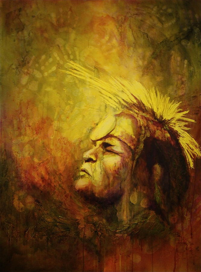 Native Painting - Listening by Jerry Frech