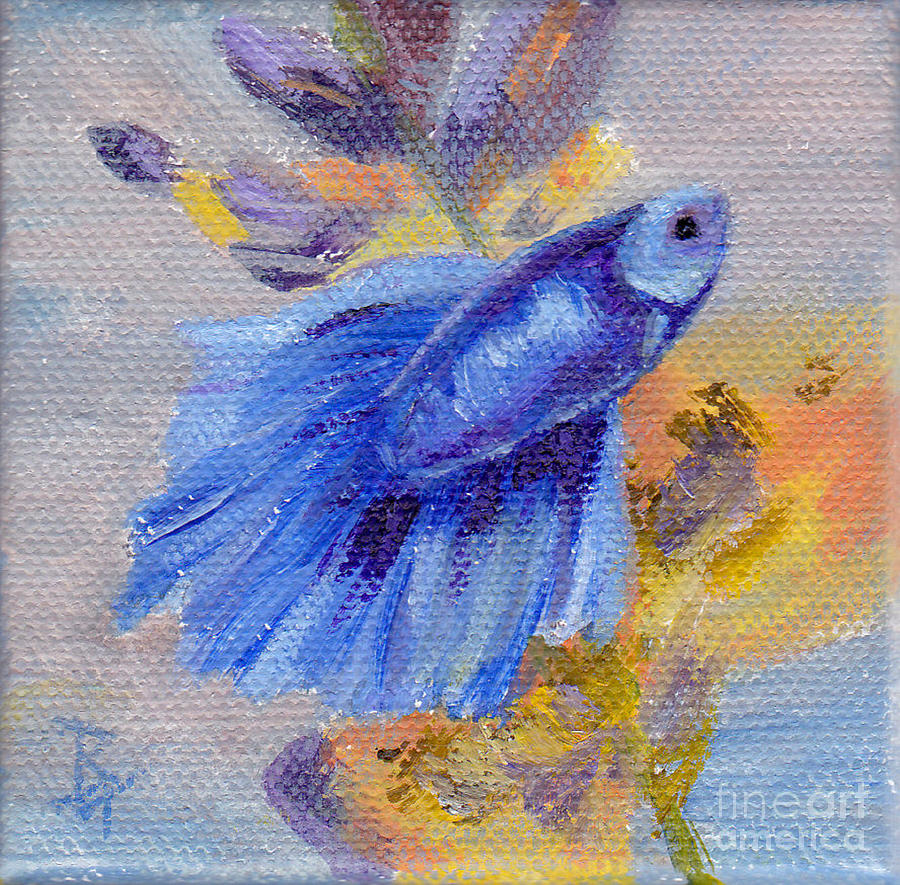 Little blue betta fish painting by brenda thour for Betta fish painting