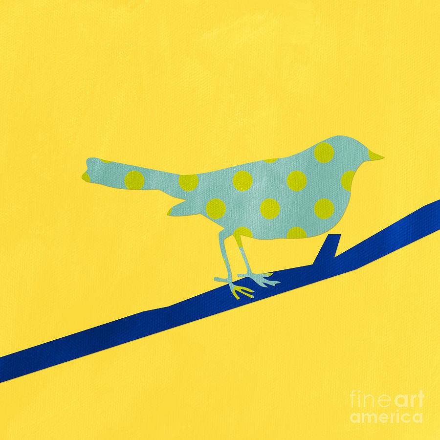 Bird Mixed Media - Little Blue Bird by Linda Woods