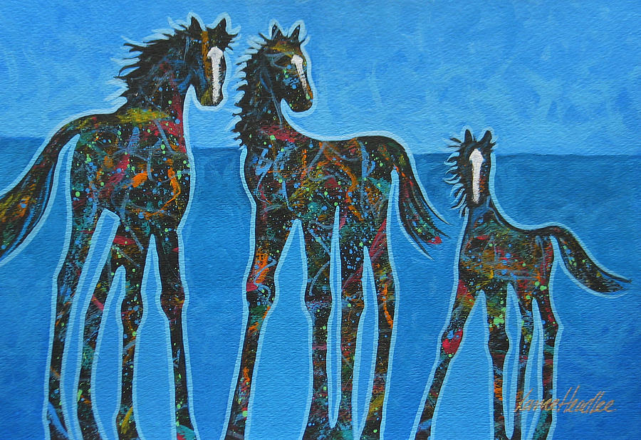 Horses Painting - Little Blue by Lance Headlee