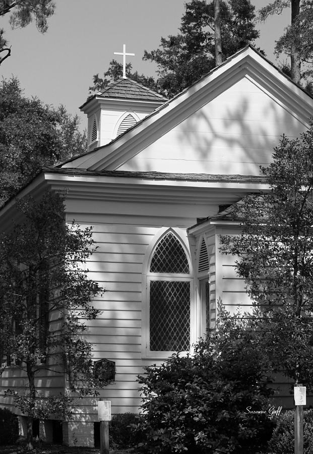 Greeting Card Photograph - Little Chapel In The Woods In Black And White by Suzanne Gaff