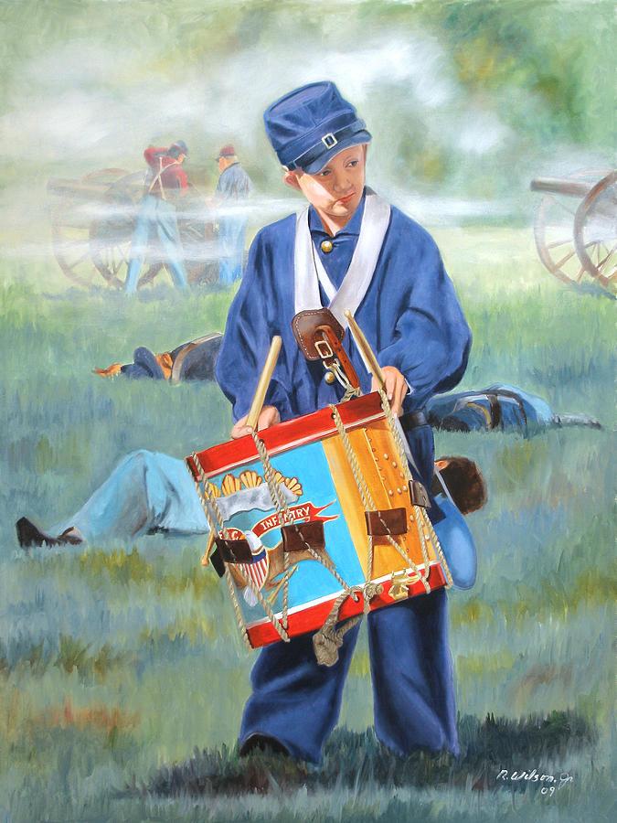 Civil War Painting - Little Drummer Boy by Karen Wilson
