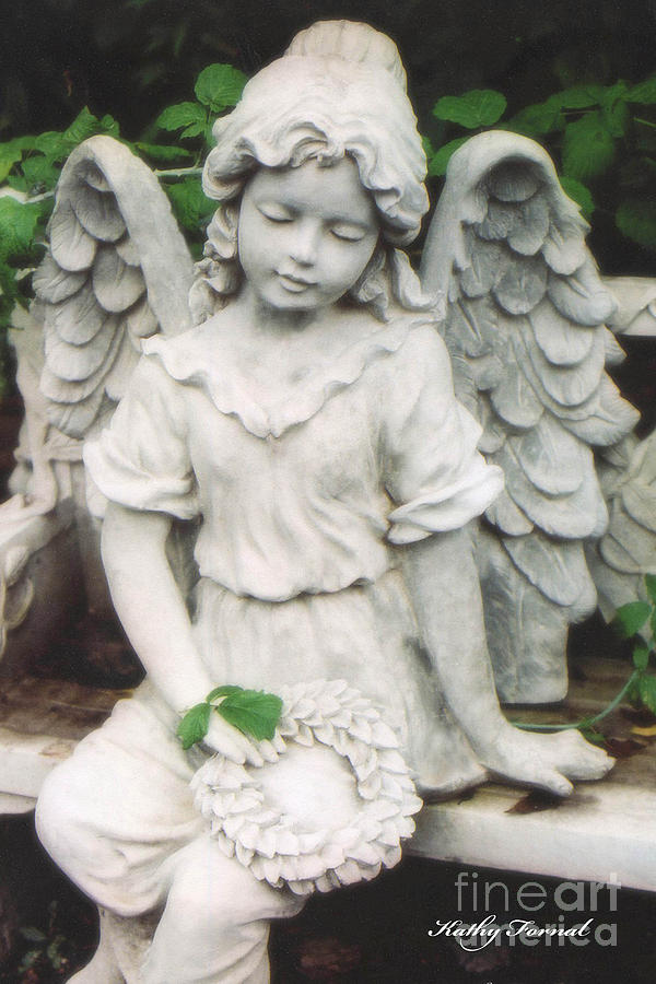 Angels Photograph   Little Girl Garden Angel Holding Wreath By Kathy Fornal