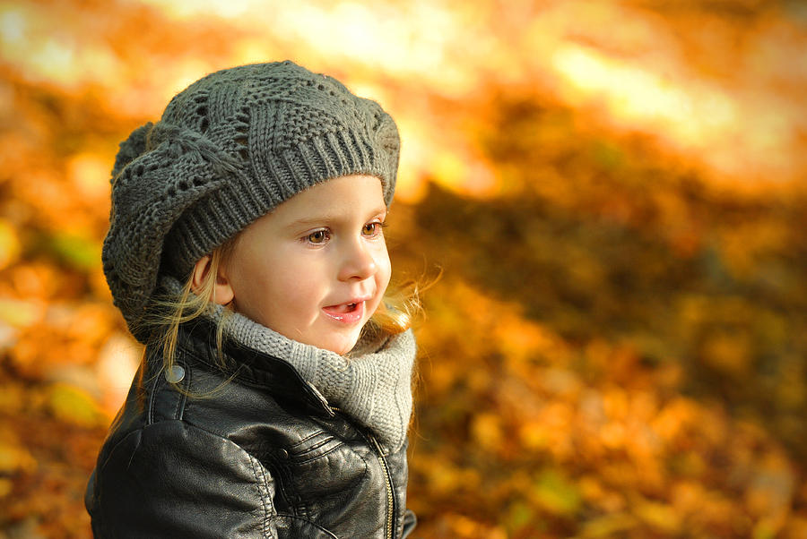 Adorable Photograph - Little Girl In Autumn Leaves Scenery At Sunset by Waldek Dabrowski