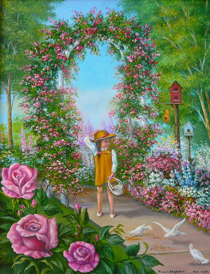 Little girl in rose garden painting by vivian eagleson for Garden painting images
