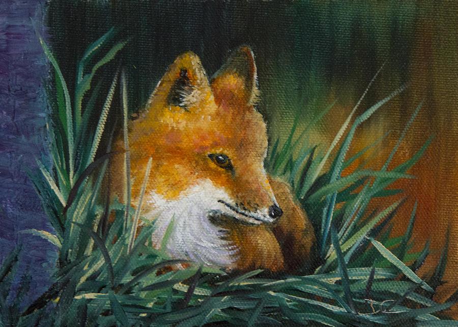 Fox Painting - Little Kit by Dee Carpenter