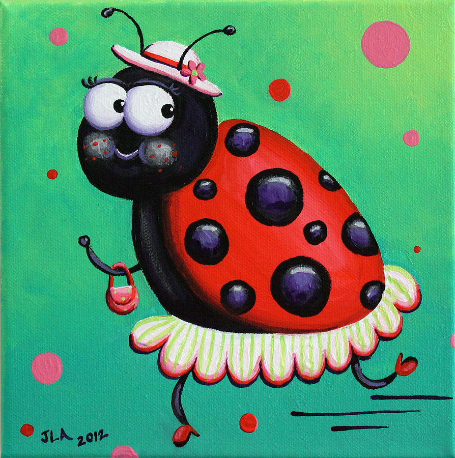 Ladybug Painting - Little Lady by Jennifer Alvarez