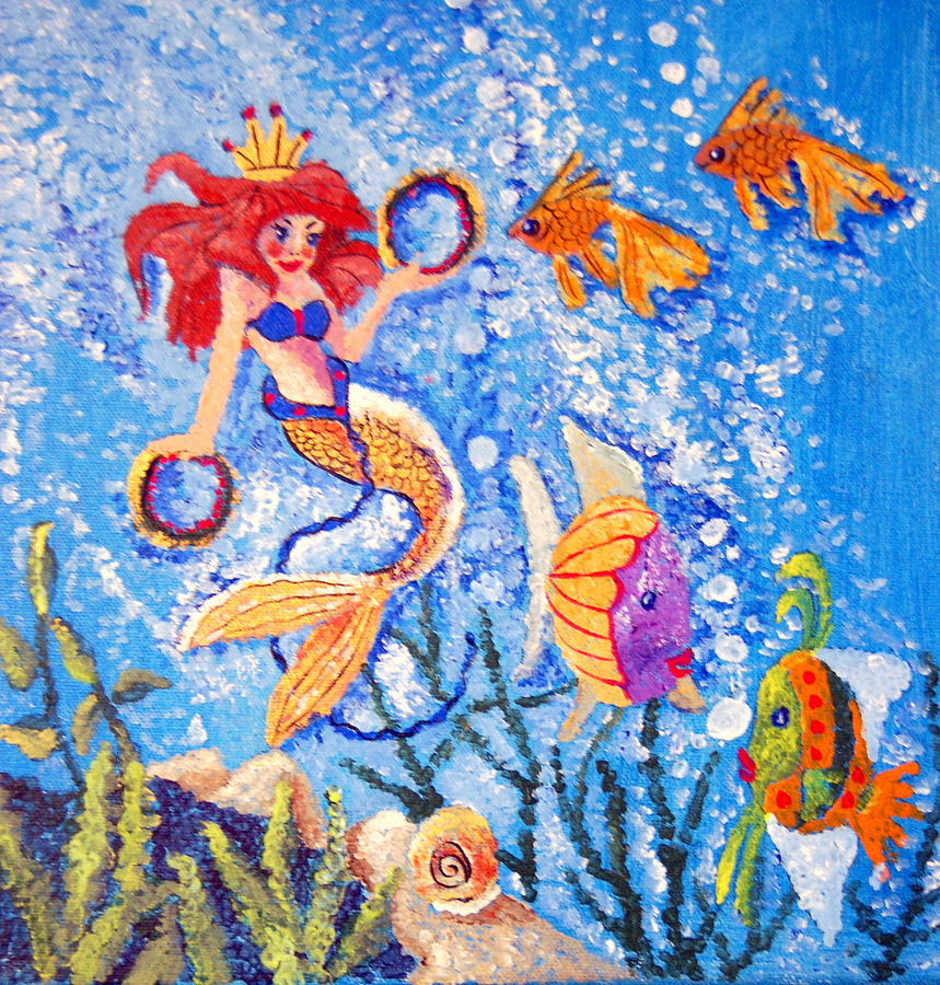 Gold Fish Painting - Little Mermaid In The Sea by Janna Columbus