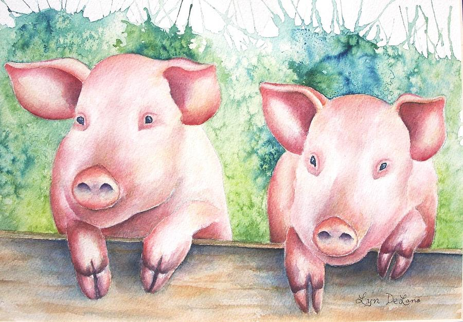 Pigs Painting - Little Piggies by Lyn DeLano