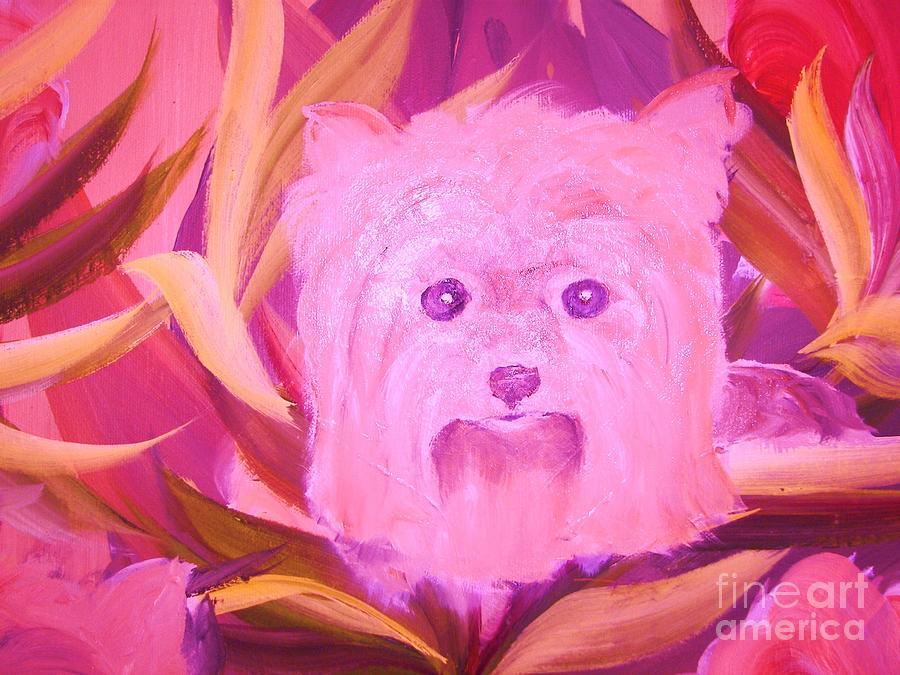 Pets Painting - Little Pink Yorkie by Rachel Carmichael