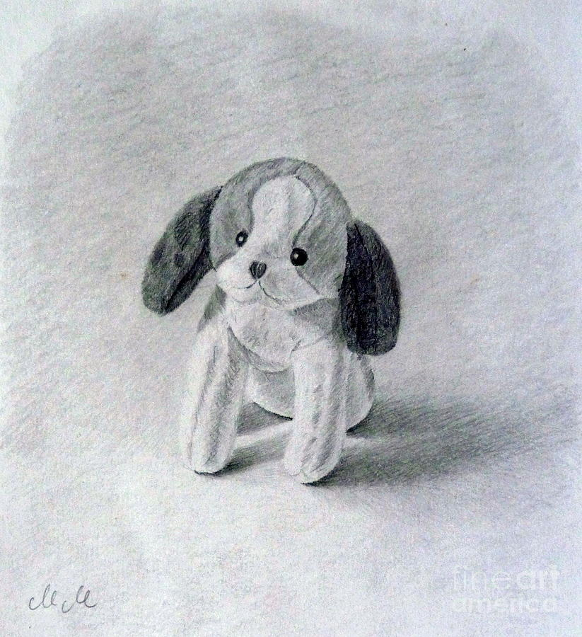 Dog Drawing - Little Plush Doggie by Maria Malevannaya