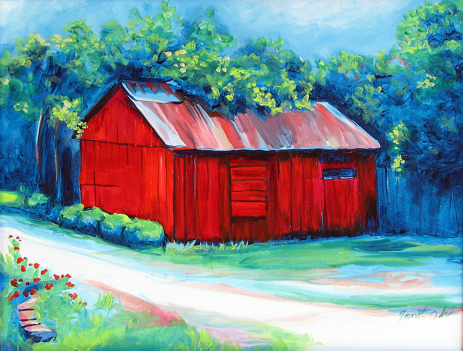 Red Barn Painting - Little Red Barn by Janet Oh