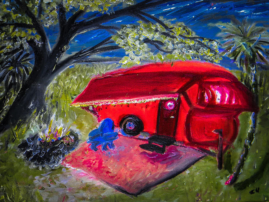 Camp Painting - Little Red Camper by Christy Usilton