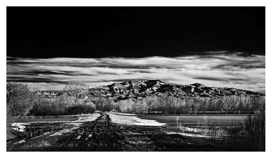 Black And White Photograph - Little San Pascual Mountain - Bosque Del Apache Nwr by Luke Parsons
