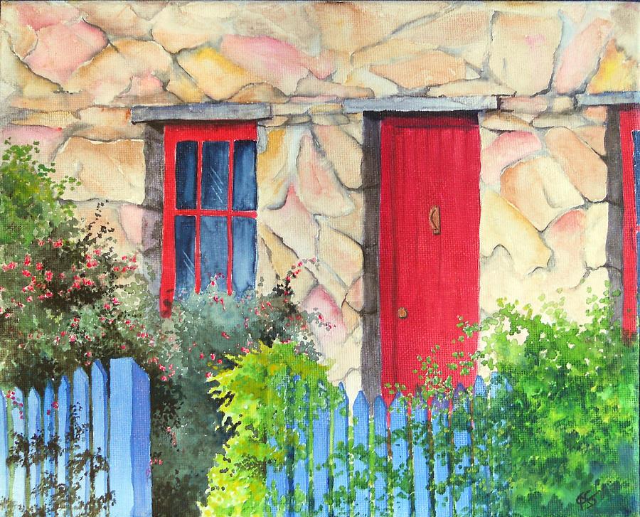 Tassie Painting - Little Tassie Red Door by Carol McLagan