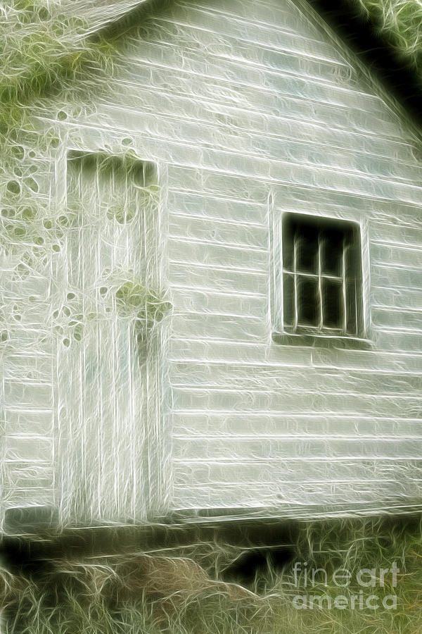 Building Photograph - Little White Building Onaping by Marjorie Imbeau
