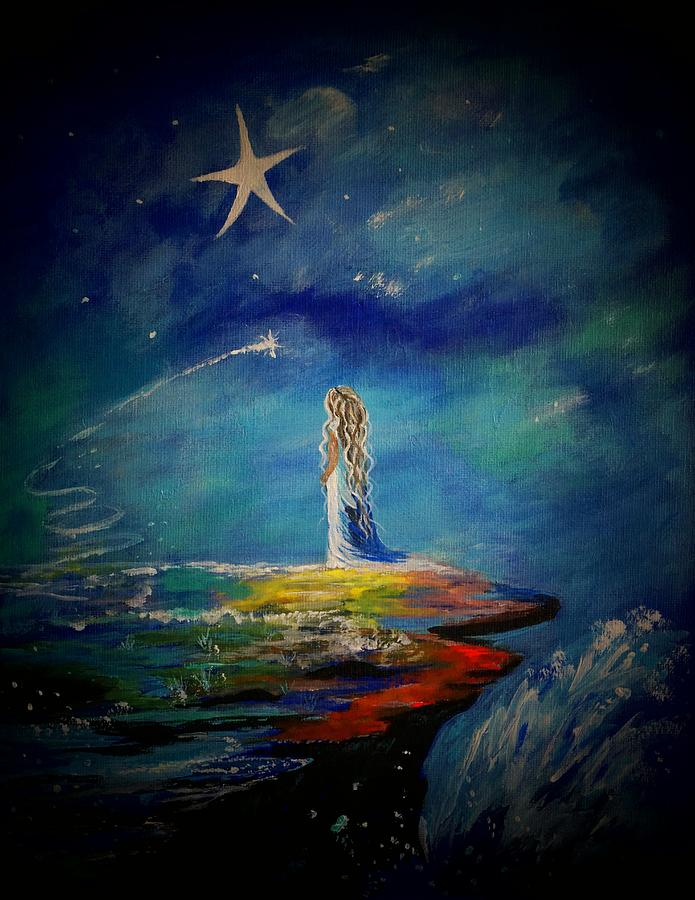 Stars Painting - Little Wishes One by Leslie Allen