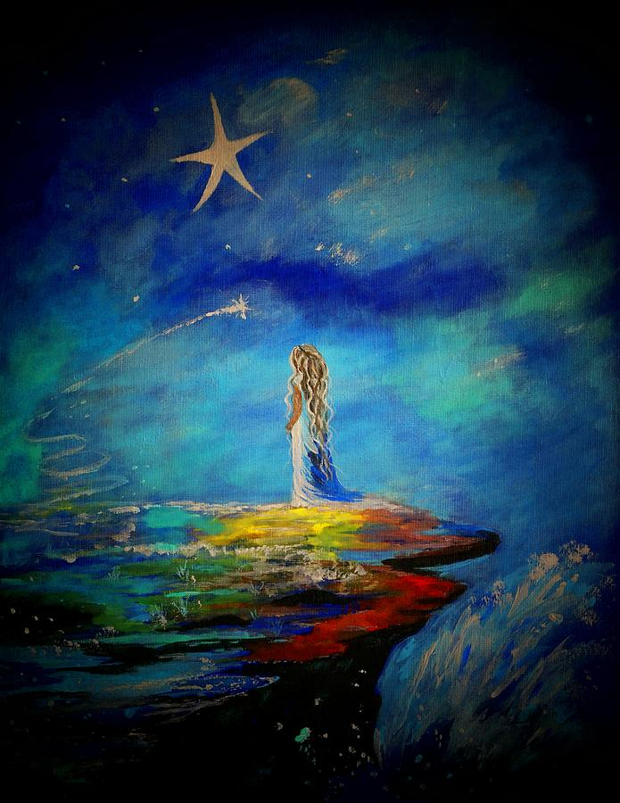 Stars Painting - Little Wishes Too by Leslie Allen