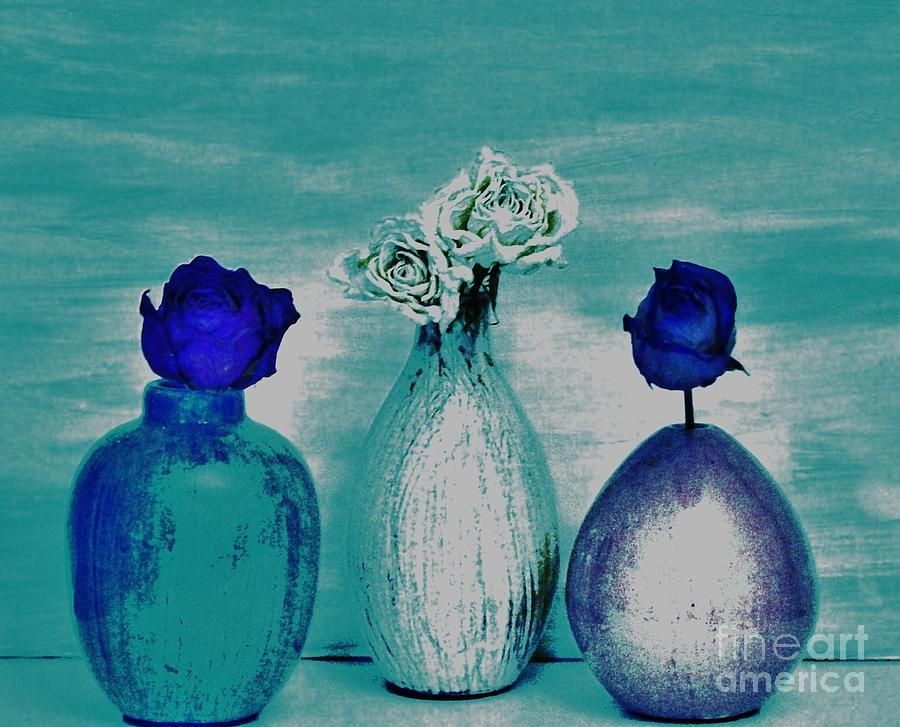 Photo Photograph - Littlle Vases Dried Roses by Marsha Heiken