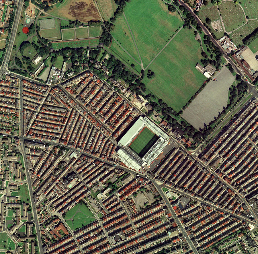 Anfield Photograph - Liverpools Anfield Stadium, Aerial View by Getmapping Plc