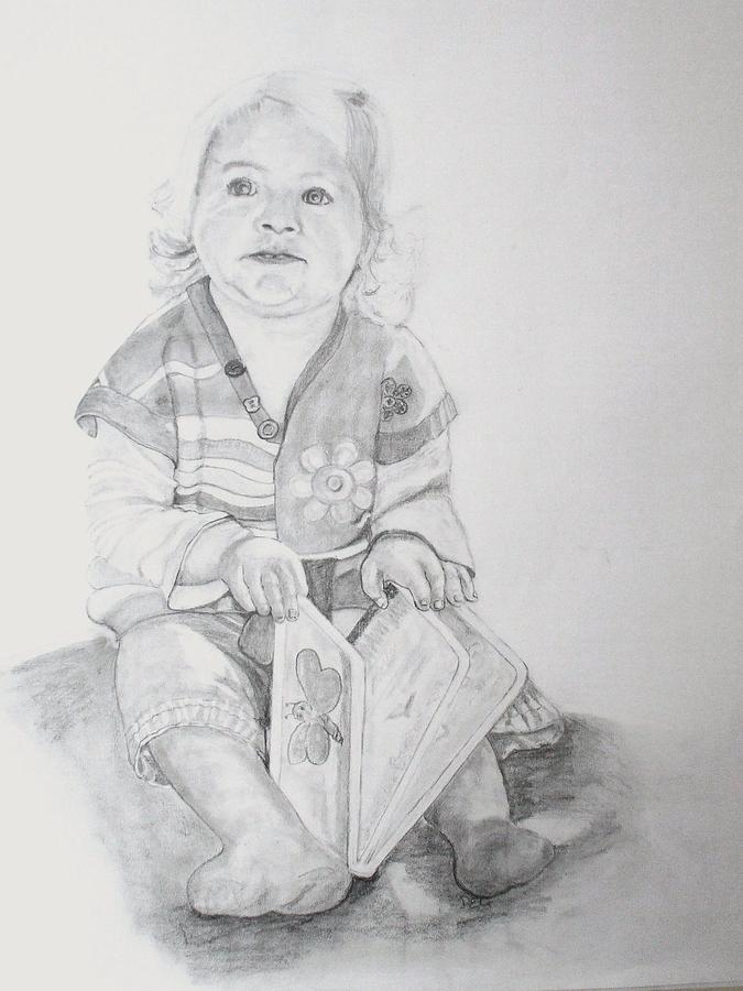 Pencil Drawing - Livvy  by Peter Edward Green