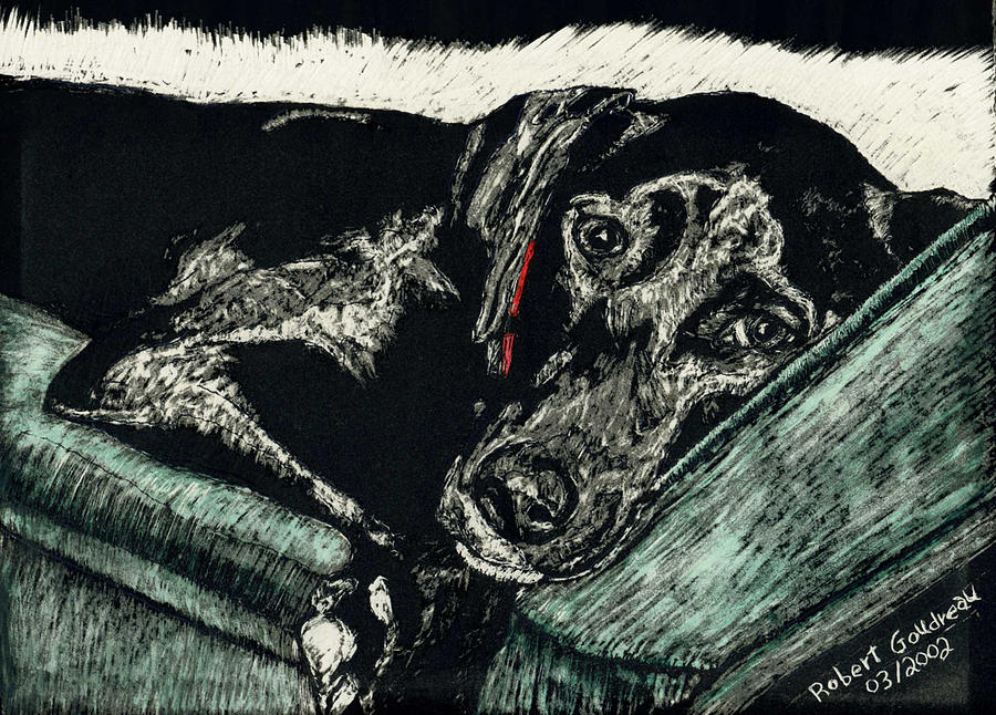 Dog Painting - Lizzie The Dog by Robert Goudreau
